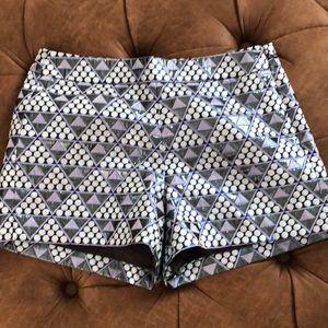 JCREW Blue geometric shiny shorts